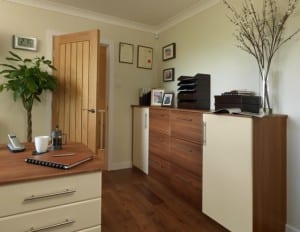 Fitted home study with easy on the eye filing system in two-tone cream gloss and walnut