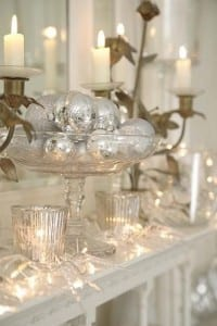 Christmas mantlepiece in silver with lit candles
