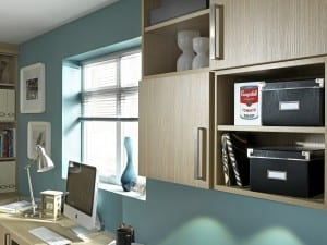 Home study focusing on office wall storage options
